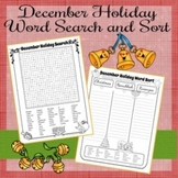 December Holiday Word Search and Sort