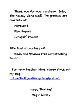 December Holiday Word Wall