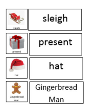 December Holiday Word Wall/ Matching (great for ESL and sp