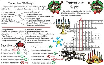 December Holidays, Anniversaries, and Birthdays Two-Page Activity Set