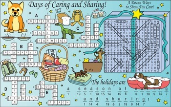 December (Holidays, Charities, and Gift-Giving) Two-Page Activity Set