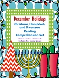 December Holidays: Christmas, Kwanzaa, & Hanukkah Reading Comprehension Set