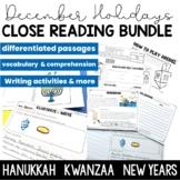 December Holidays Close Reading Bundle | Hanukkah | Kwanzaa | NYE