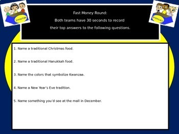 December Holidays Christmas Hanukkah Kwanzaa  Family Feud Game