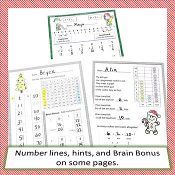 Christmas Holiday in December Math CCSS First Grade Just Print It (Common Core)
