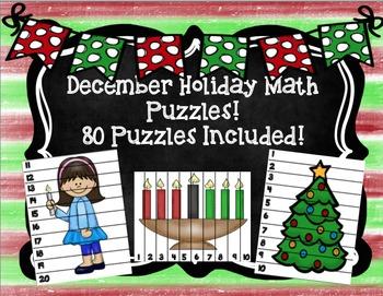 December Holidays Math Puzzles