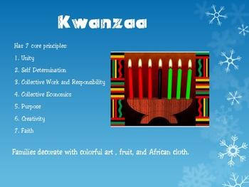 December Holidays Powerpoint (Christmas, Hanukkah, Ramadan, Kwanzaa)