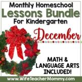 December Homeschool Lessons Kindergarten Math & Language Arts Mini Bundle