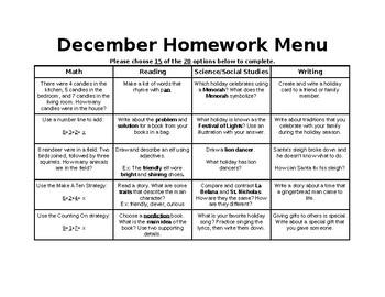 November/December Homework Calendar
