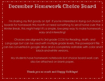 December Homework Choice Board: Color & BW
