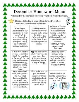December Homework Menu