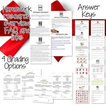 Third Grade Homework December {40+ NO PREP Printables & Editable Homework Menu}