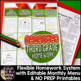 Third Grade Homework December | Editable Homework Menu & 40+ NO PREP Printables