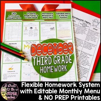 Third Grade Homework December {30+ NO PREP Printables & Ed