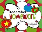 December Homework Pack for Kindergarten