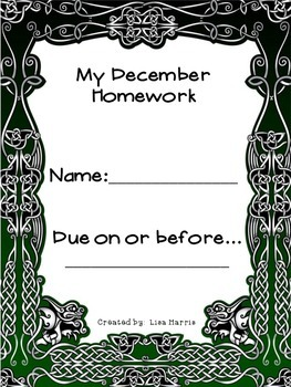 December Homework Packet for Kindergarten