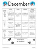 December Homework Packet for Kindergarten/First Grade