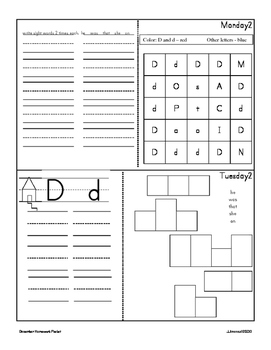 December Homework Packet for Kindergarten/First Grade