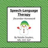 December Homework Packet for Speech Language Therapy