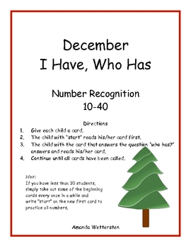 December I Have, Who Has:  11-40 Number Recogntion
