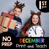 December Independent work packet for First Grade - math and reading worksheets