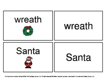 December/ January Functional Spelling Boardmaker Picture Cards for SPED