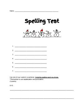 December/January Themed Spelling Test Template