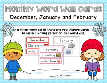 December, January and February Word Wall Cards