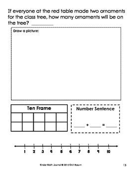 December Kinder Math Journal