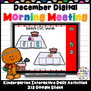 December Kindergarten Digital Morning Meeting For GOOGLE SLIDES