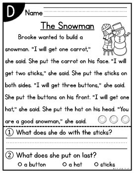December Kindergarten Guided Reading Passages and Questions Levels A-E