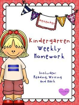 December Kindergarten Homework