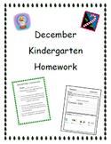 December Kindergarten Homework-Editable/All subjects