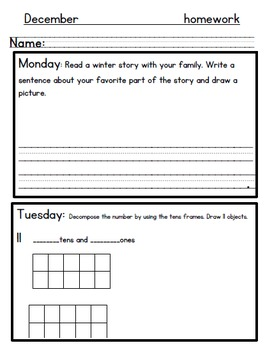 December Kindergarten Homework-Editable/All subjects