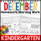 December Kindergarten Homework-Morning Work Math and Literacy