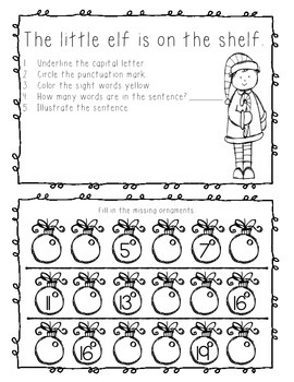 December Kindergarten Homework or Morning Work
