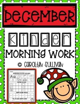 December Kindergarten Literacy Morning Work