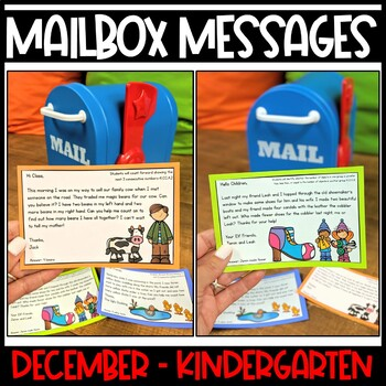 December Kindergarten Mailbox Math Messages from Traditional Tales Characters