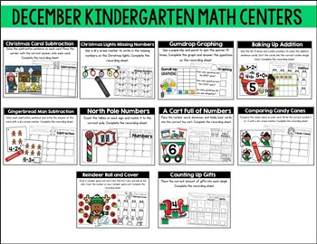 December Kindergarten Math & Literacy Centers