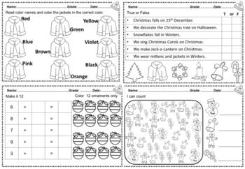 December Kindergarten Math and Literacy Packet Part 1