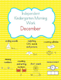 December Kindergarten Morning Work, Daily Math and Literacy Practice