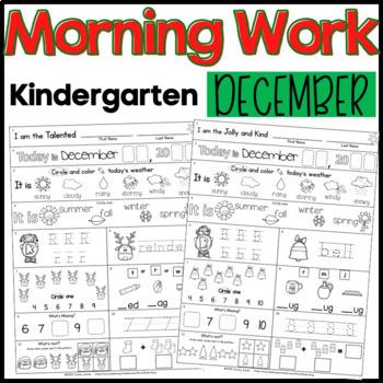 Morning Work: Kindergarten December Packet (Winter Common Core Differentiated)