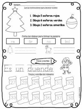 December Kindergarten Morning Work in Spanish Trabajo por la mañana