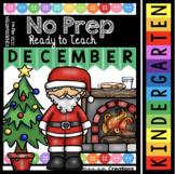 December Kindergarten NO PREP Math and Literacy Worksheet Pack