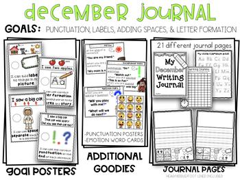 December Kindergarten Punctuation, Emotions, & Animals Writing Journal Emoticons