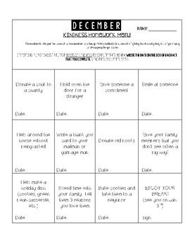 December Kindness Fun Homework Menu