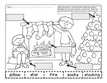 Christmas Labeling Activities Set 1 Beginning-Ending Sounds #novparadise