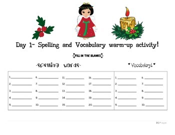 December Language Activities