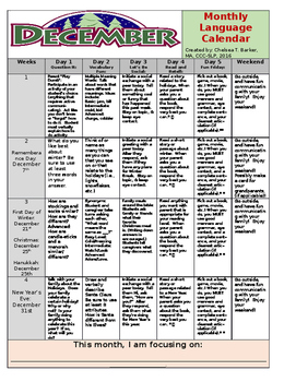 December Language Calendar - EDITABLE