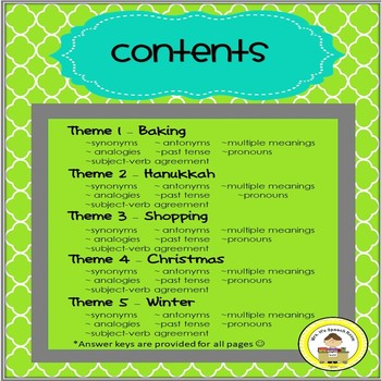 December  Language and Vocabulary Printables for Middle School Speech Therapy